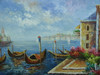 Beautiful large painting, stretched but without frame, unsigned.  A group of gondolas are docked at the edge of a city, with villas and sailboats in the distance.