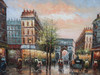 Beautiful medium sized painting, stretched but without frame, by Raspail.  Men and women walk down the streets of Paris lined with brick buildings, and green trees.