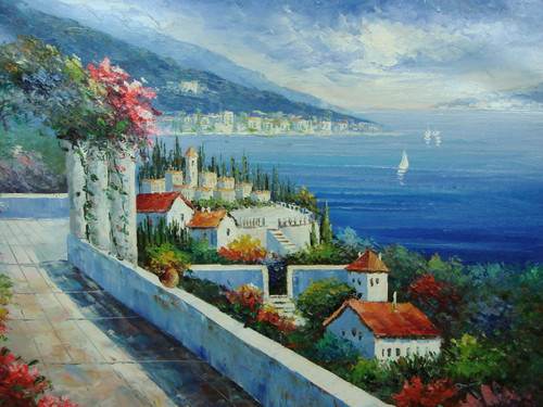 Beautiful, large painting, stretched but without frame, by Damini.  A stone walkway with ivy covered columns winds along a hillside of white villas overlooking the deep blue sea.