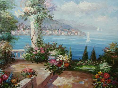 Beautiful, large painting, stretched but without frame, by Damini.  A white column is covered in flowering ivy at the edge of a garden courtyard overlooking the sea and villas.