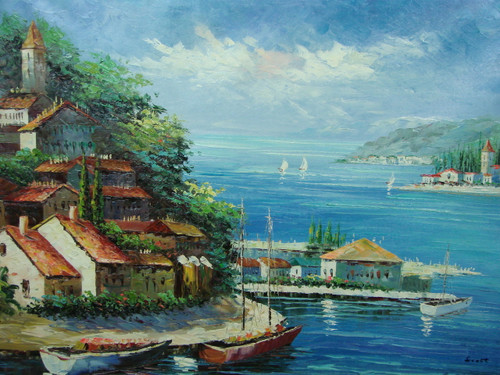 Beautiful, large painting, stretched but without frame, by Scott.  White villas sit on the banks of blue water, with sailboats docked along the shore.