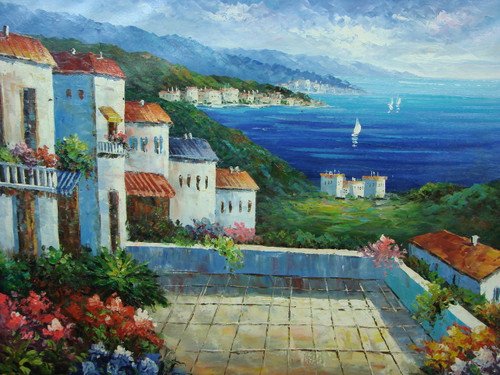 Beautiful, large painting, stretched but without frame, by Damini.  A large courtyard surrounded by shrubs and flowers is shared by a group of white villas overlooking the bright blue sea.