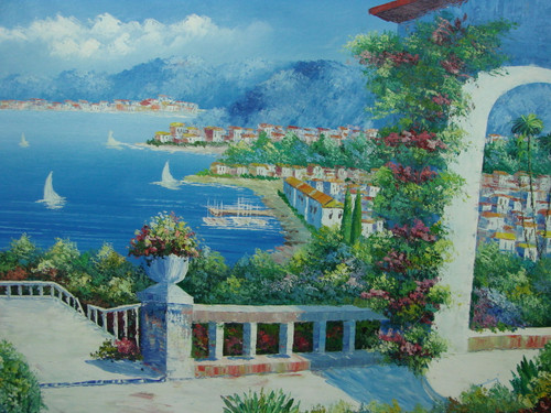 Beautiful, large painting, stretched but without frame, by Damini.  White, purple and blue flowers line a white balcony and archway that looks down a group of villas filling the shoreline of a blue sea with sailboats