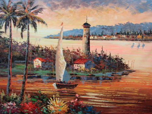 Beautiful, large painting, stretched but without frame, by Scott.  A sailboat sets course near a lighthouse in the pink and orange waters that are reflecting the setting sun.