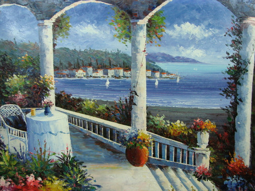 Beautiful, large painting, stretched but without frame, by Scott.  A small table draped in white sits at the edge of a portico surrounded by flowering green hedges and bright blue water.