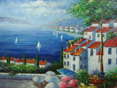 Beautiful, large painting, stretched but without frame, by Damini.  Tall white villas line the shoreline of a dark blue sea with sailboats.