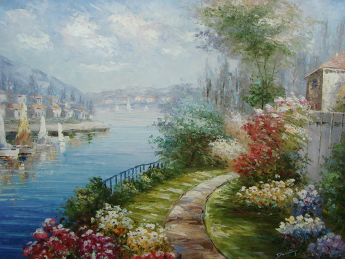 Beautiful, large painting, stretched but without frame, by Damini.  Pink, yellow and blue flowers line a dirt path that winds around an inlet of docked sailboats in blue water.