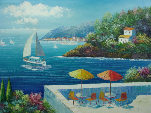 Beautiful, large painting, stretched but without frame, by Damini.  A large stone balcony contains two small tables with yellow and orange umbrellas that look out over the bright blue sea full of sailboats.