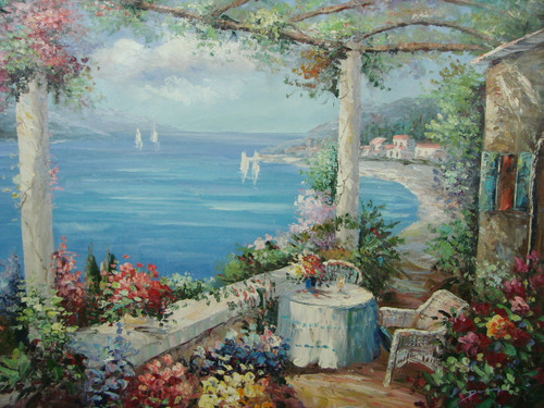 Beautiful painting, stretched but without frame, by Damini.  A small table for two sits near the edge of a veranda covered in pink, blue and yellow flowers overlooking light blue water.