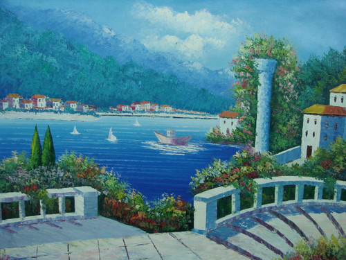 Beautiful painting, stretched but without frame, by Damini.  White stone stairs, leading to the blue sea, are surrounded by flowering green hedges.