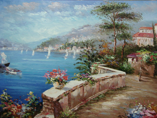 Beautiful large sized painting, stretched but without frame, by Damini.  Pink flowers line a seaside path that winds around the blue waters filled with sailboats.