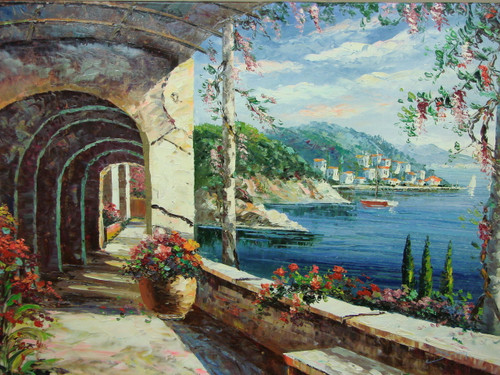 Beautiful large sized painting, stretched but without frame, by Damini.  A stone archway covered path overlooks sailboats in the blue sea and green hillsides filled with white villas.