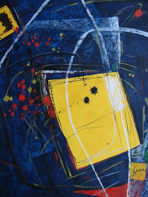 Large Abstract / Modern painting, stretched but without frame.  A dark blue background is accented with white brushstrokes and bright yellow squares.