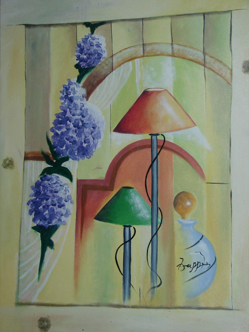 Abstract / Modern painting, stretched but without frame, by Zappe.  Lavender flowers arc over lamps with green and brown shades in this large sized painting.