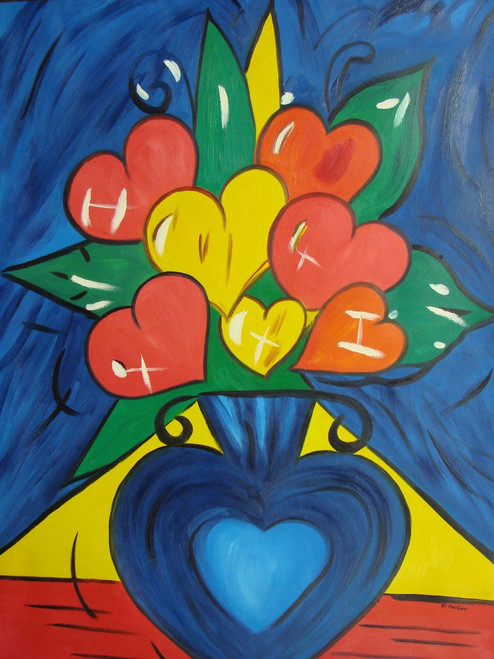Abstract / Modern painting, stretched but without frame, by F. McCoy.  Red and yellow heart-shaped flowers fill a deep blue vase in this large sized painting.
