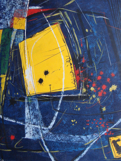 Abstract / Modern painting, stretched but without frame, by B. J..  A dark blue background is highlighted with white brushstrokes and two abstract yellow squares in this large sized painting.