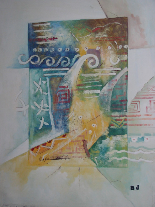 Large Abstract / Modern painting, stretched but without frame, by B. J..  Pastel colors of green, blue and yellow are merged together in a large rectangle, overlaid with white symbols and designs.