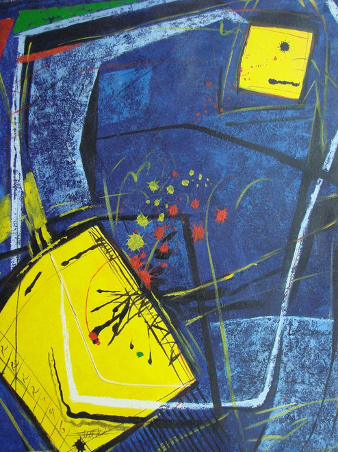 Large Abstract / Modern painting, stretched but without frame, by B.J..  A dark blue background with white highlights contains abstract yellow squares.