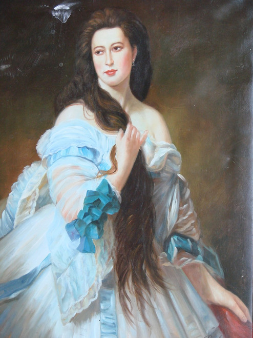 Painting of a person, stretched canvas but without frame, by Belmont.  A woman with long brown hair wears a white gown with light blue trim in this medium sized painting.