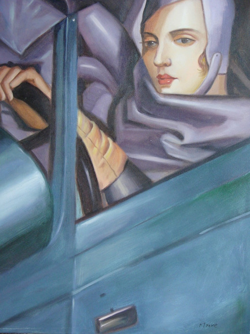 Medium sized painting of a person, stretched canvas but without frame, by Moore.  A woman in a grey driving cap and coat drives a blue car.