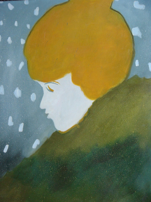 Medium sized painting of a person, stretched canvas but without frame, by Legrand.  The profile of a woman with yellow hair, wearing dark green is in front of a blue background with white dots.