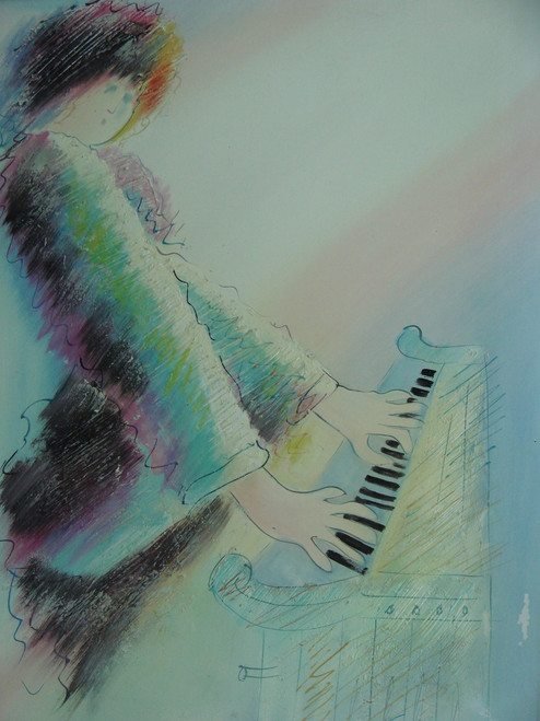 Medium sized painting of a person, stretched canvas but without frame, by Sanguin.  A man plays the piano dressed in pastel blues, purple and black.