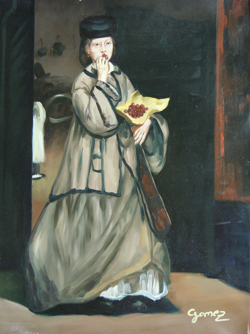 Painting of a person, stretched canvas but without frame, by Gomez.  A woman in a beige petticoat eats a bowl of grapes in this medium sized painting.