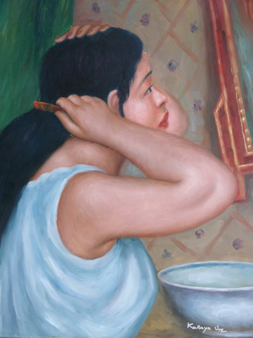 Painting of a person, stretched canvas but without frame, by Karaya Uve.  A woman in a white shirt does her hair in this medium painting.