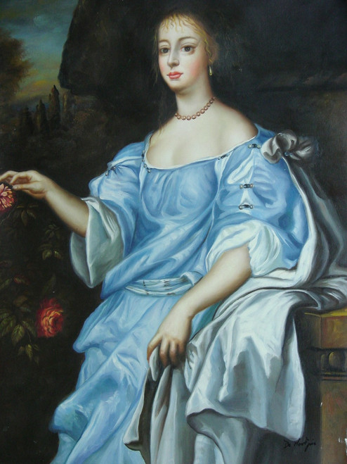 Medium painting of a person, stretched canvas but without frame, by De Montjoie.  A woman in a large blue and white gown stands outside near a rose bush.