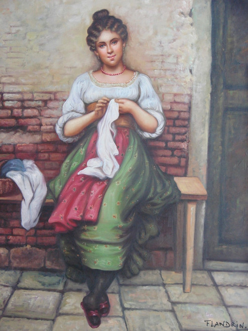 Medium painting of a person, stretched canvas but without frame, by Flandrin.  A woman sits on a wooden bench outside a brick building and sews a white garment.