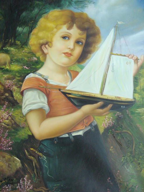 A medium sized painting of a person, stretched canvas but without frame, by Kevin Clay.  A young child plays with a sail boat in a grassy meadow with purple flowers.