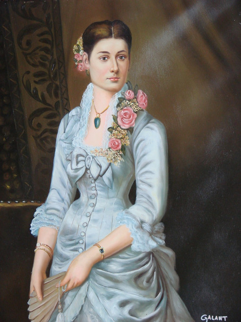 Painting of a person, stretched canvas but without frame, by Galant.  A woman in a light blue gown with pink roses stands, holding a fan in this medium sized painting.