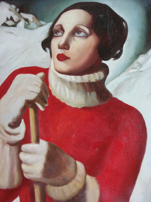 Painting of a person, stretched canvas but without frame, by Moore.  A man wears a red jacket with large white collar and white gloves in this medium sized painting.