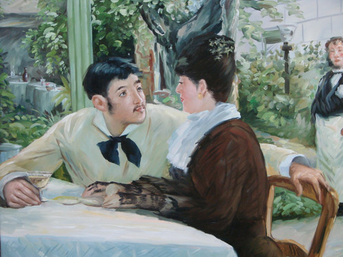 Medium sized painting of a couple, stretched canvas but without frame, by M. Fuentez.  A man and a woman gaze affectionately at each other while enjoying drinks on the patio of a restaurant.