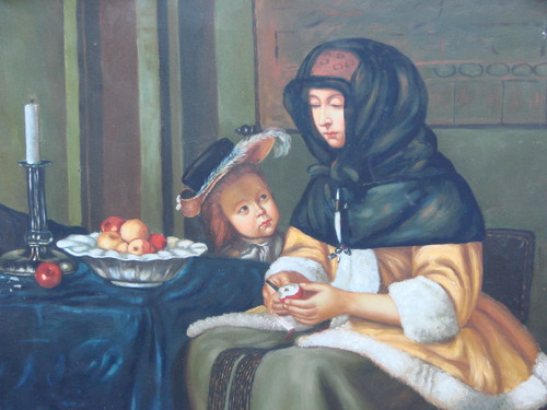 Medium sized painting of a person, stretched canvas but without frame, by Marcillac.  A woman sits at a table with a young child pealing apples.