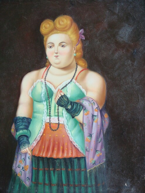 Painting of a person, stretched canvas but without frame, by T. Carter.  A woman with curly red hair stands in front of a black background, wearing a mint green and red corset, dark green skirt and lavender shawl.