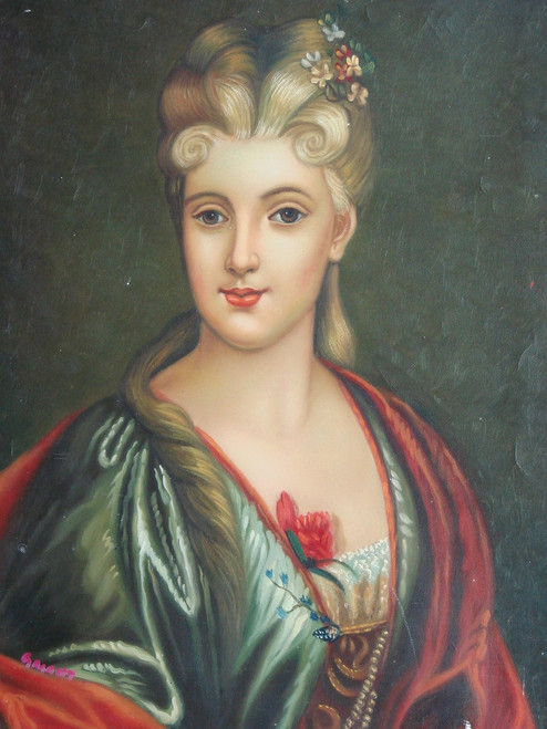 Small painting of a person, stretched canvas but without frame, by Galant.  A portrait of a woman wearing a green dress, with a red shawl, and flowers in her blonde hair.