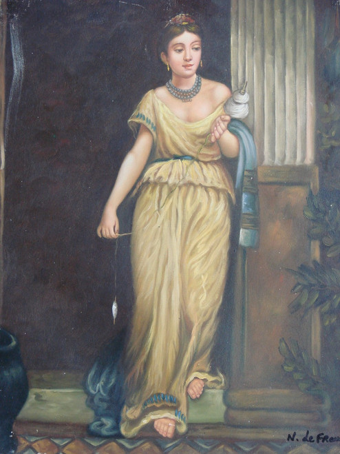 Small painting of a person, stretched canvas but without frame, by N. de Franc.  A woman in a golden, yellow dress holds a spool of white yarn.