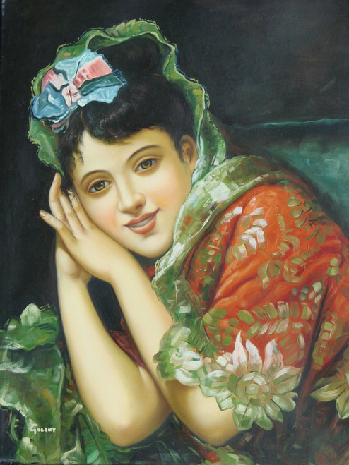 Painting of a person, stretched canvas but without frame, by Galant.  A small portrait of a woman in a red dress with gold appliques wears a blue and pink bow in her hair.