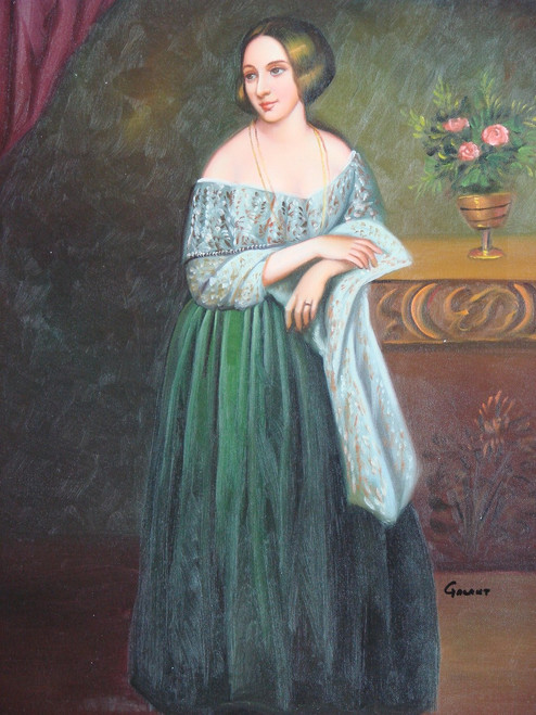 Painting of a person, stretched canvas but without frame, by Galant.  A woman in a green dress leans against a wooden table in this small portrait painting.