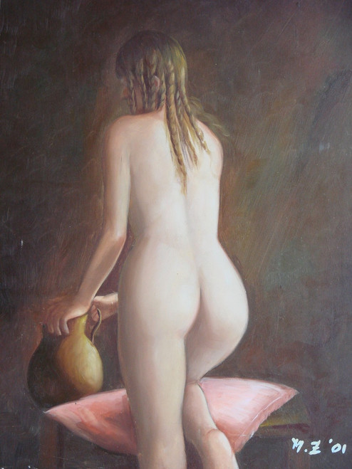 Small painting of a person, stretched canvas but without frame, by M. Z..  A nude woman with curly hair, faces away while resting against a pink pillow.
