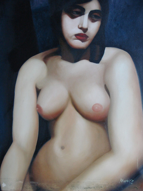 Painting of a person, stretched canvas but without frame, by Moore.  A nude portrait of a woman with short black hair sitting down.