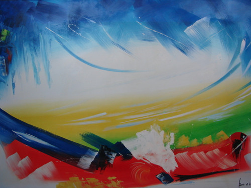 Large abstract painting, stretched canvas but without frame, by Ron Mitchell.  Blue, yellow, green, red and white brushstrokes mix together in this oil painting.
