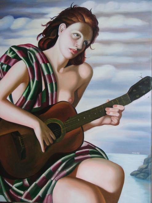 Beautiful medium sized oil painting, stretched canvas but without frame, by Moore.  A nude woman wrapped in a green and purple cloth plays the guitar with a calm sea and cloudy sky in the background.