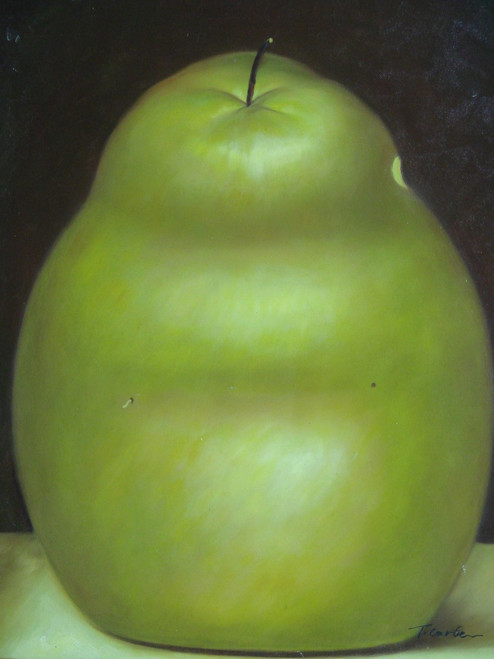 Still life oil painting, stretched canvas but without frame, signed by T. Carter.  A large green pear sits on a cream table with a dark brown backdrop in this medium sized painting.