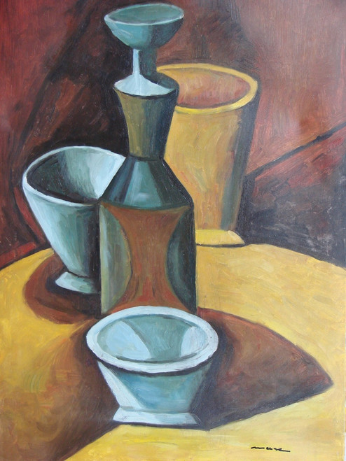 Still life oil painting, stretched canvas but without frame, signed by Mauve.  A wooden table hold grey bowls and dark brown vases in this large sized painting.