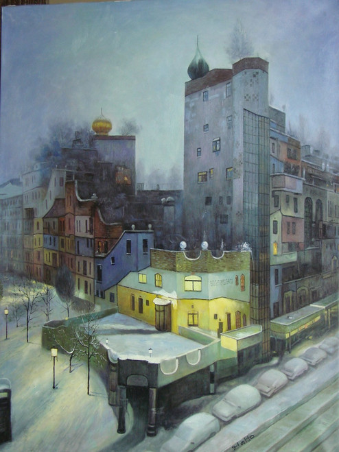 Oil painting, stretched canvas but without frame, signed by Galto.  Night falls on a snow covered city in this large cityscape painting.