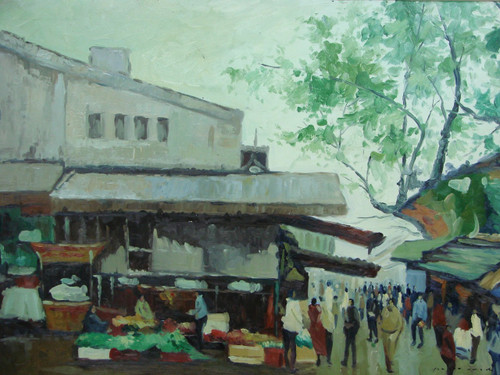 Beautiful, large landscape oil painting, stretched canvas but without frame, signed by Parmanski.  a crowd of people walk through a market on an overcast day.