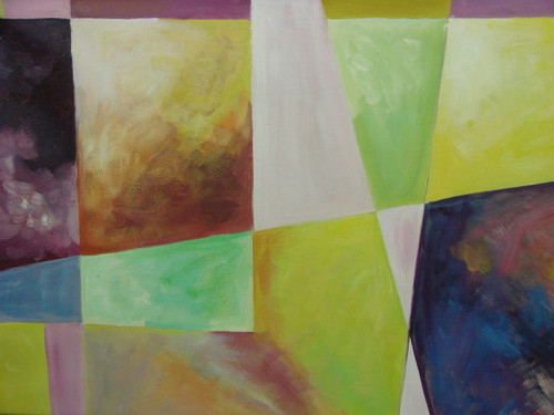 Medium modern / abstract oil painting, stretched canvas but without frame, signed by Ron Mitchell.  Abstract squares of pastel green, orange and yellow are pieced together with dark purple squares near the edge of the painting.
