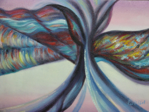 Medium modern / abstract oil painting, stretched canvas but without frame, signed by Ron Mitchell.  A rainbow of colors swirl together encircled in charcoal grey and blue, over a white and pink background.